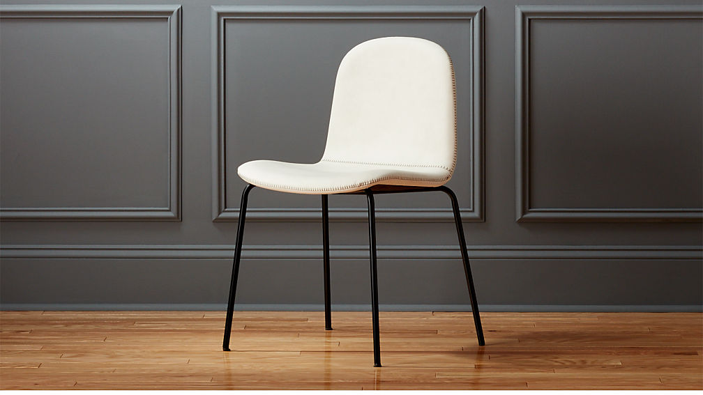 Primitivo White Faux Leather Dining Chair Cb2