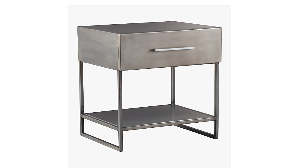 proof metal nightstand + reviews | cb2 Gray Night Stand
