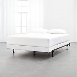 Modern Bedroom Furniture Unique Beds And Dressers Cb2 - Logan-leather-bed-with-adjustable-headboard