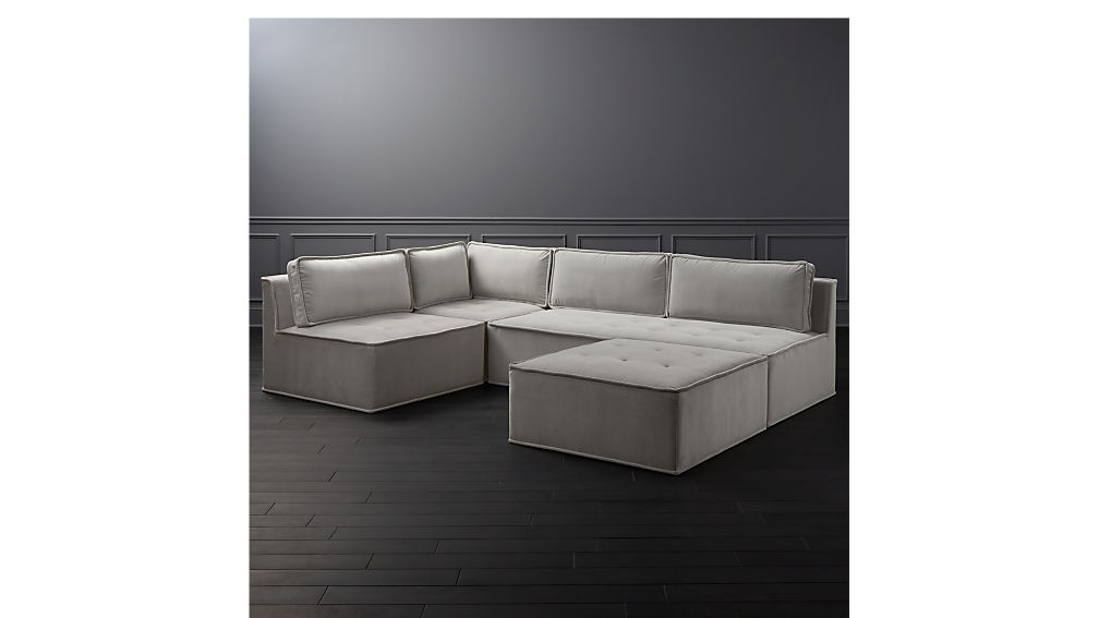 Quattro Sharkskin Light Grey Velvet Tufted 4 Piece Sectional Sofa + Reviews  | CB2