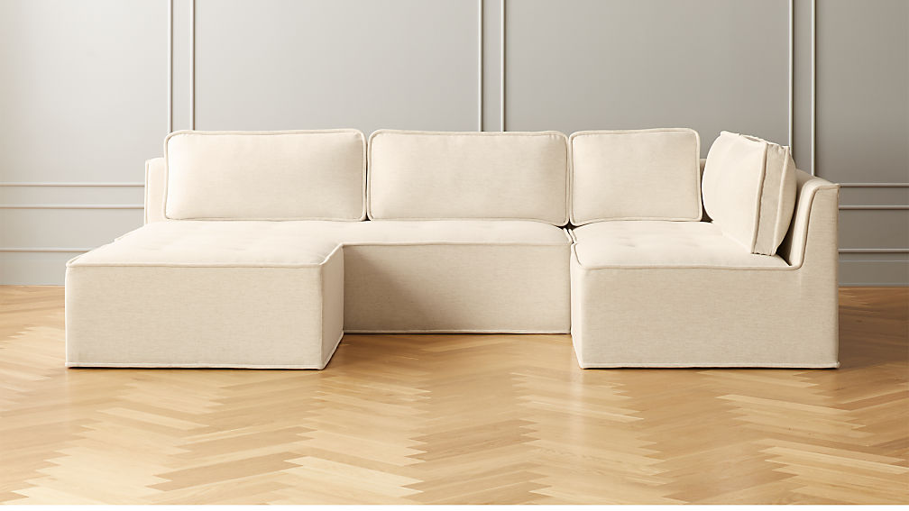 Quattro Snow Tufted 4-Piece Sectional Sofa - Image 1 of 5