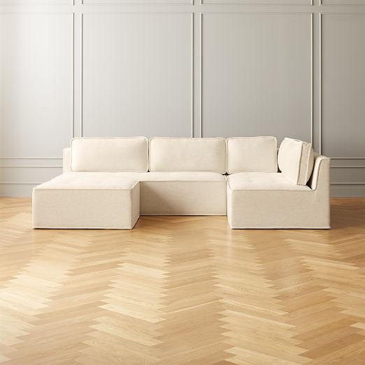 Quattro Snow Tufted 4-Piece Sectional Sofa