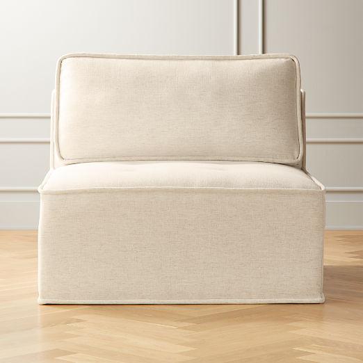 Quattro Snow Tufted Armless Chair