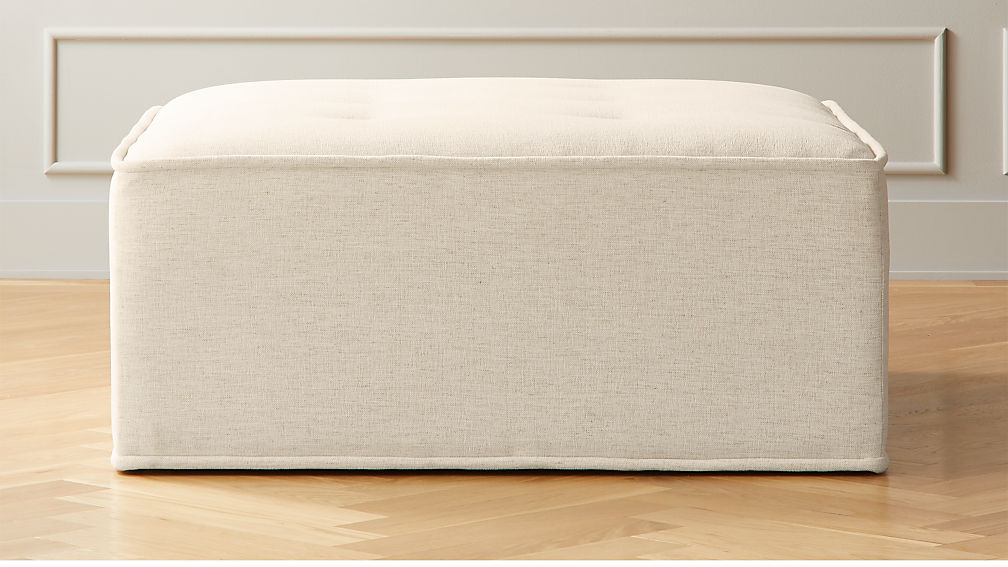 Quattro Snow Tufted Ottoman - Image 1 of 4