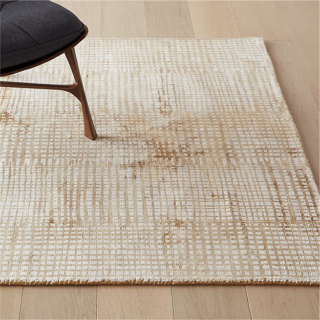 Queue Camel Modern Grid Rug - Image 1 of 8