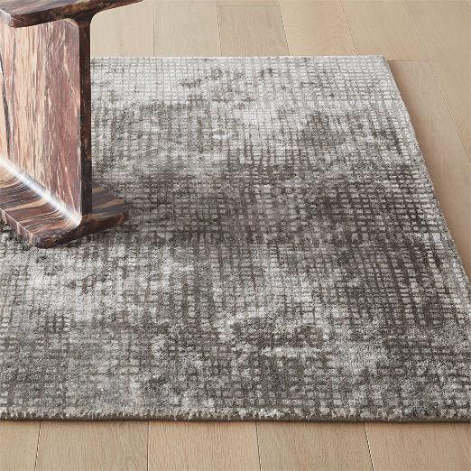 Queue Grey Modern Grid Rug