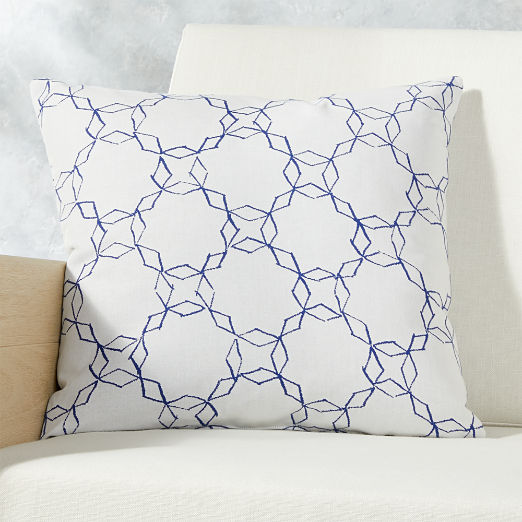 """20"""" Quill Blue/White Outdoor Pillow"""