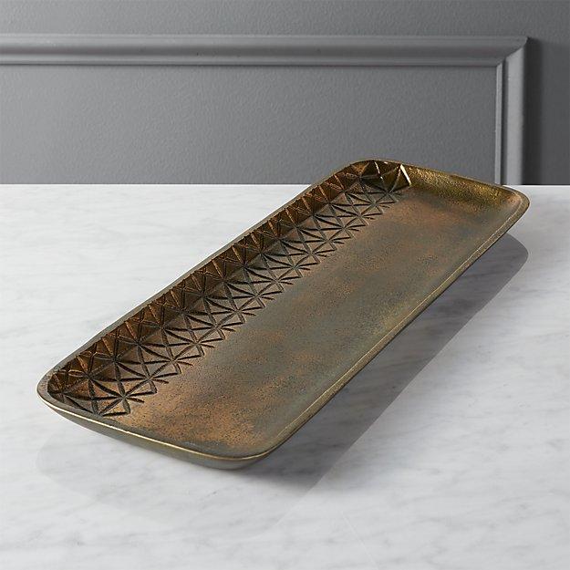 quin burnt brass tray reviews cb2