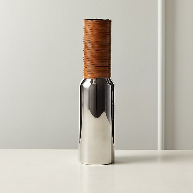 Quinn Stainless Steel and Leather Vase - Image 1 of 5