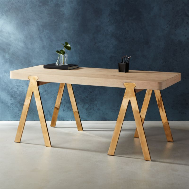 Unique raba sawhorse-style desk + Reviews | CB2 FR34