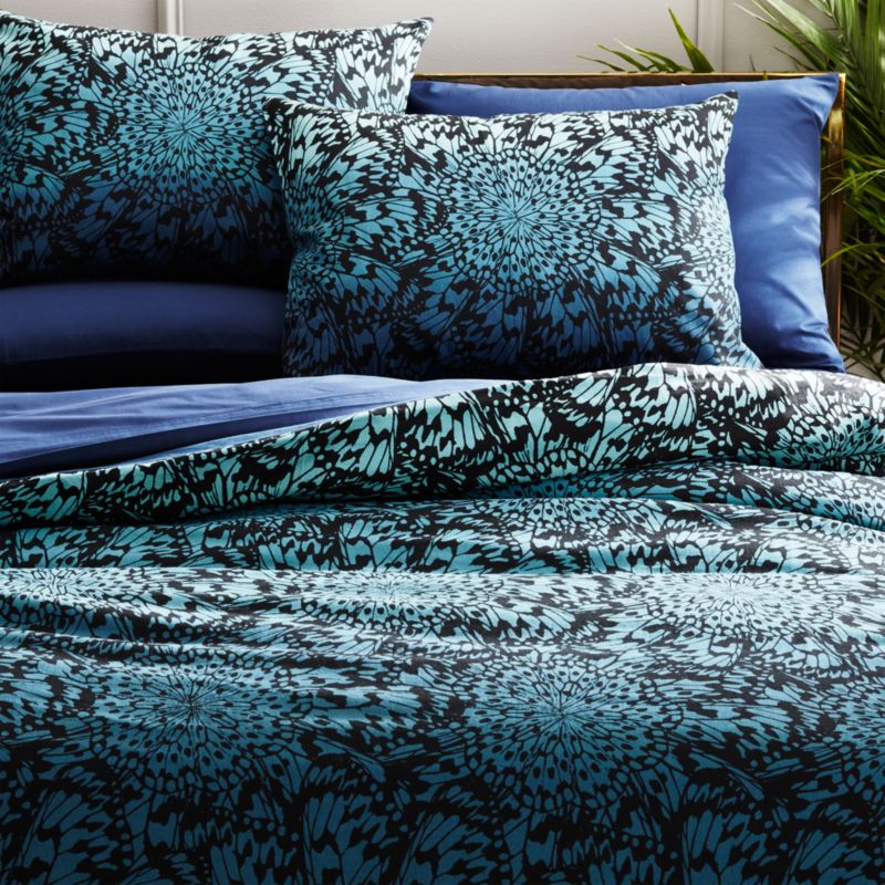butterfly wheel teal king duvet cover reviews cb2. Black Bedroom Furniture Sets. Home Design Ideas