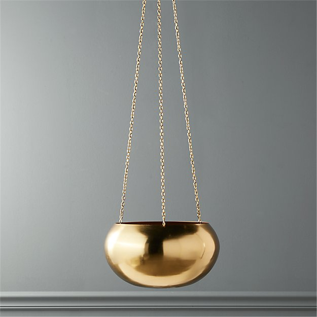 Raj Gold Hanging Planter - Image 1 of 5