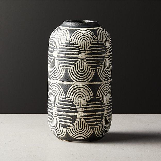 Rake Tall Black and White Vase - Image 1 of 10