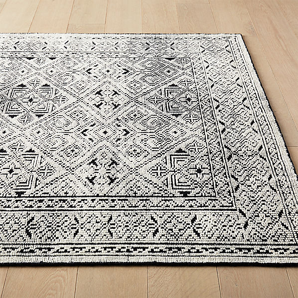 Raumont Handknotted Black Detailed Rug Cb2