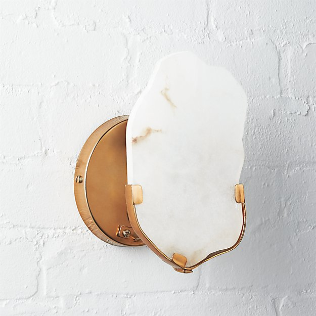 Raw Edge Alabaster Wall Sconce - Image 1 of 8