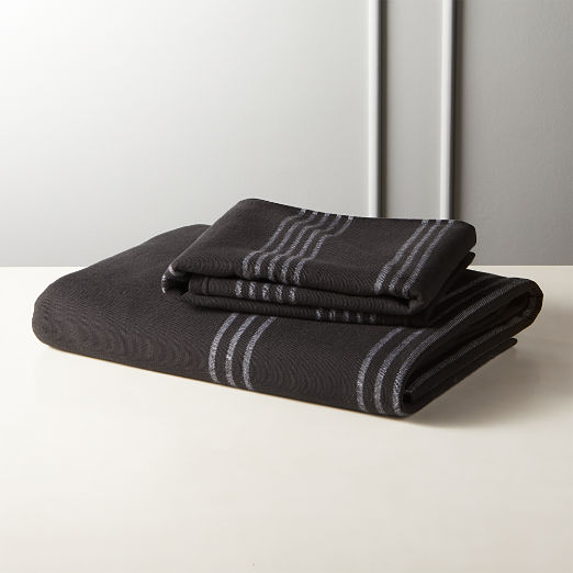 Raya Black Striped Bath Towels