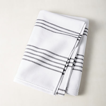 Raya Black and White Striped Bath Towel + Reviews | CB2