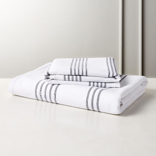 Raya Black and White Striped Bath Towels