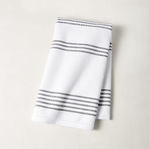 Raya Black and White Striped Hand Towel