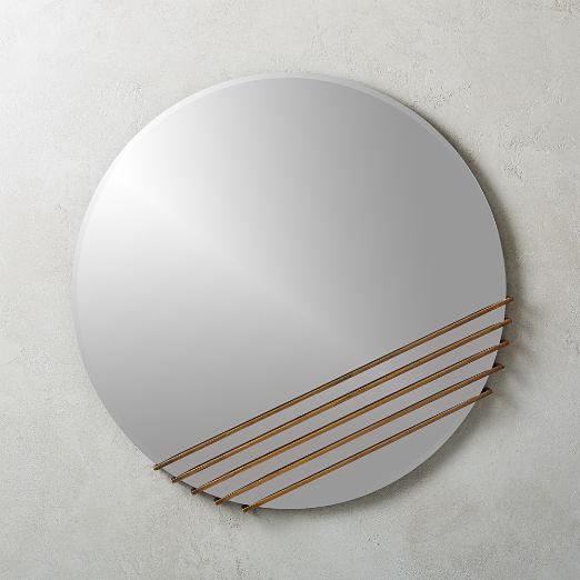 Rebar Plated Brass Round Mirror