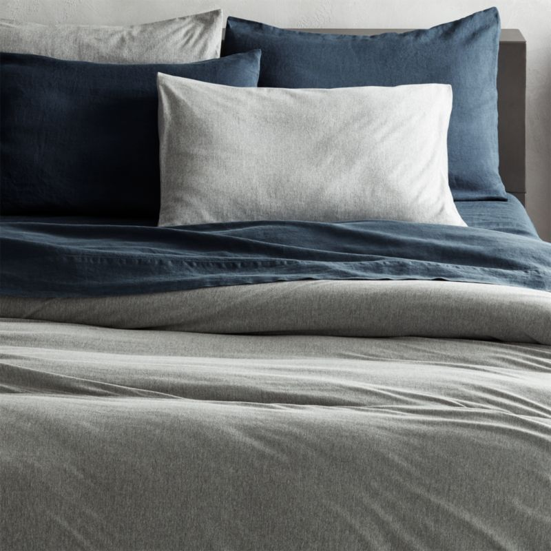 o full queen flax products cover melange belgian linen elm blue west shams duvet shadow