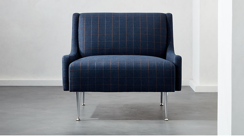 Regent Navy Plaid Wingback Chair With Chrome Legs Cb2 Canada