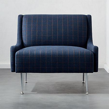 Wondrous Regent Navy Plaid Wingback Chair With Chrome Legs Short Links Chair Design For Home Short Linksinfo