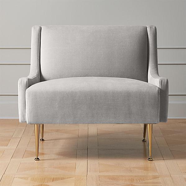 Regent Sharkskin Grey Velvet Wingback Chair With Br Legs