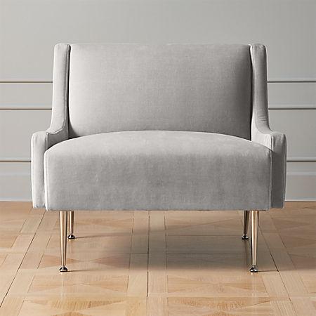 Enjoyable Regent Sharkskin Grey Velvet Wingback Chair With Chrome Legs Machost Co Dining Chair Design Ideas Machostcouk
