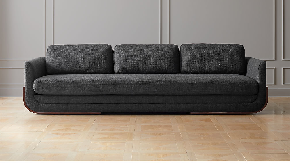 Remy Charcoal Grey Wood Base Sofa - Image 1 of 6