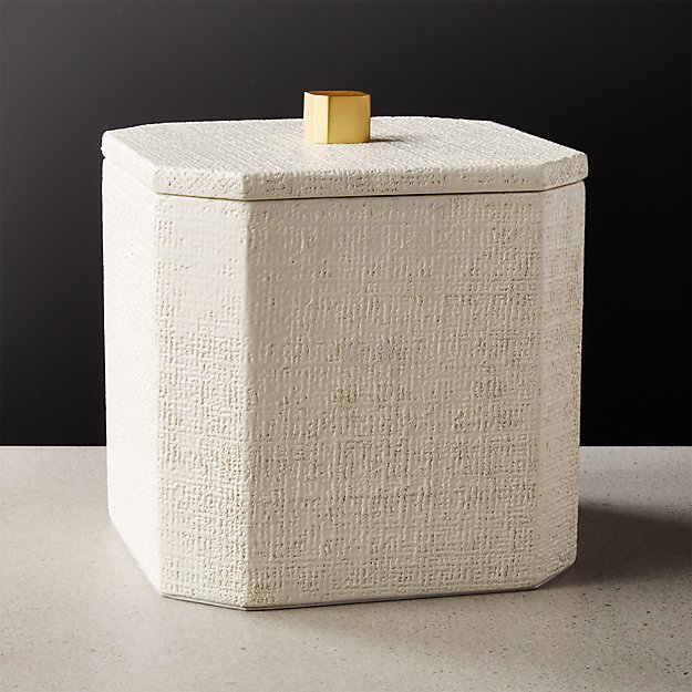 Rene Lacquered Linen White Ice Bucket - Image 1 of 6