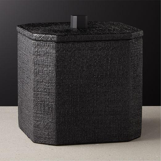 Rene Lacquered Linen Matte Black Ice Bucket