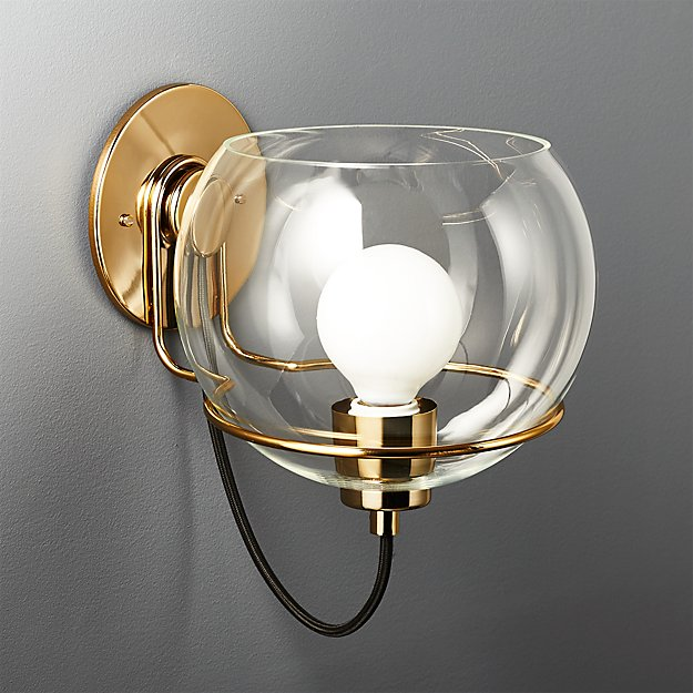 f0f91f069e3a Rest Large Clear Glass Wall Sconce + Reviews | CB2
