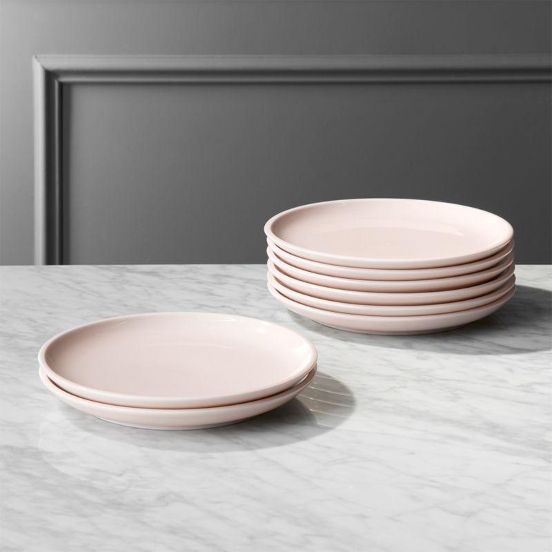Reveal Pink Dinner Plates Set of 8. & porcelain plates   CB2