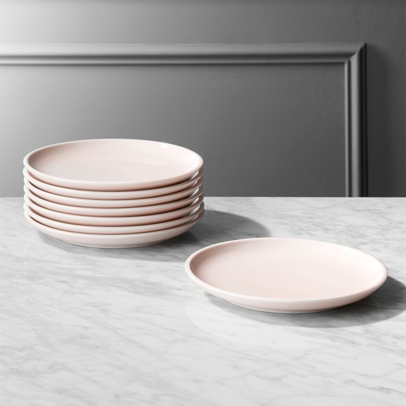 Reveal Pink Salad Plates Set of 8 & Serving Dishes | CB2