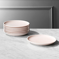 Reveal Pink Salad Plates Set of 8 & Modern Dining Sets and Dishware | CB2