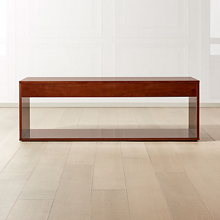 Reyes High Gloss Olive Wood Coffee Table Cb2