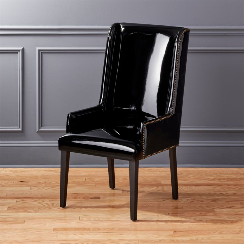 Reynolds Black Patent Leather Chair