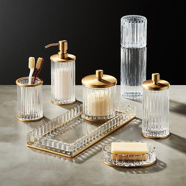 Ribbed Glass Bath Accessories Cb2