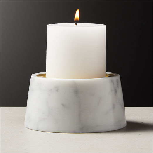Riley White Marble Pillar Candle Holder