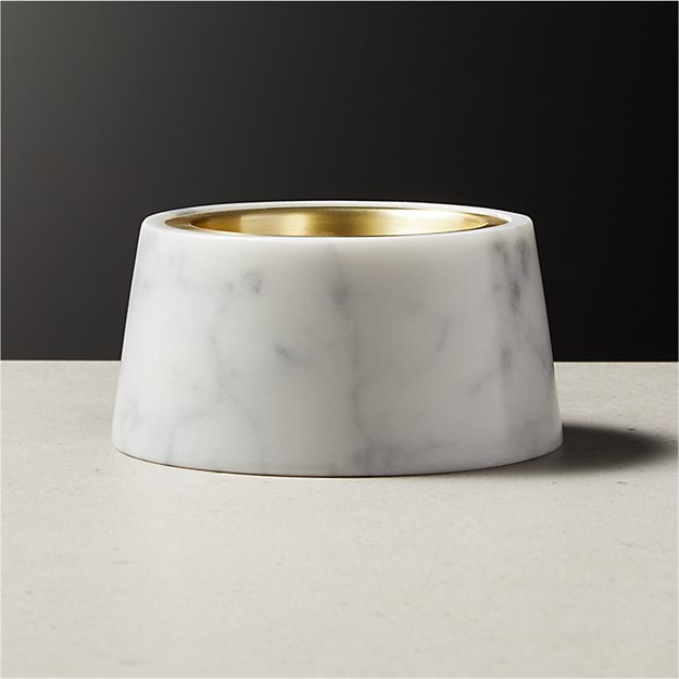 Riley White Marble Pillar Candle Holder - Image 1 of 5