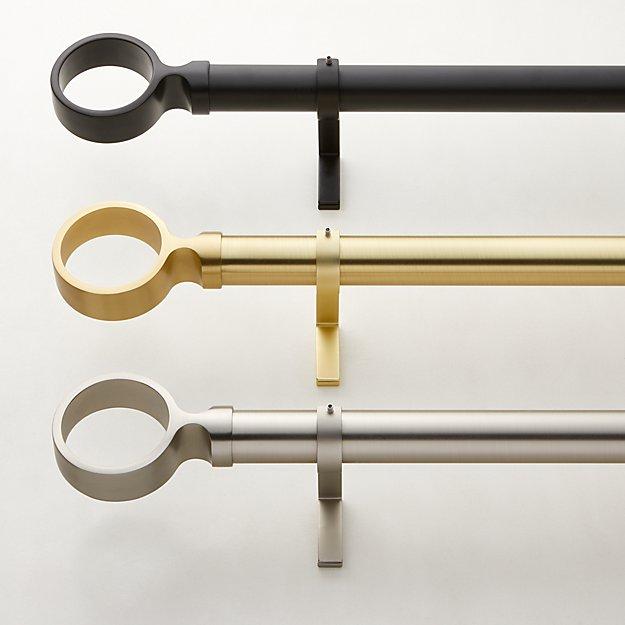"Ring Finial Curtain Rod Set  1.25"" Diameter - Image 1 of 4"