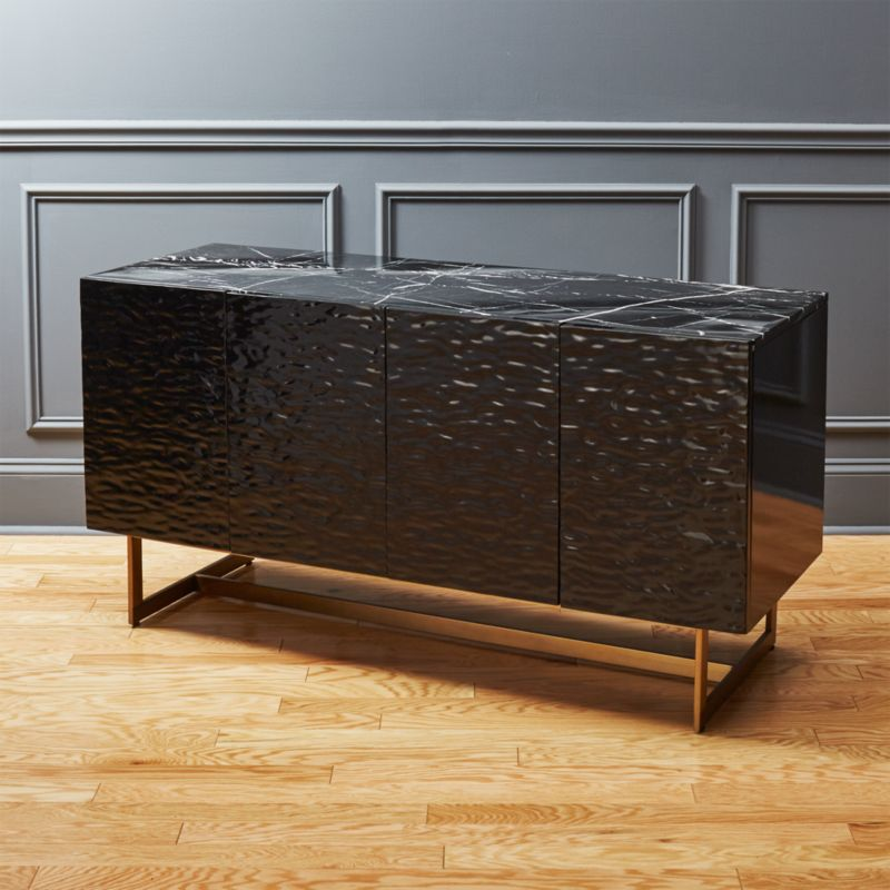 Ripple Black Marble Console Table Reviews Cb2
