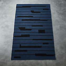 Rise Blue And Black Rug