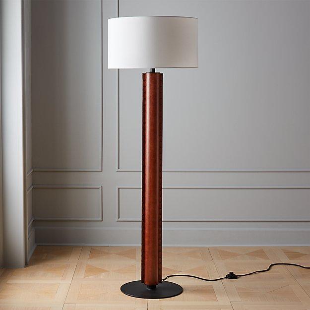 Rivet Brown Leather Floor Lamp - Image 1 of 6