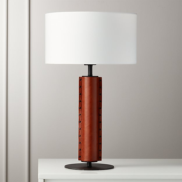 Rivet Brown Leather Table Lamp Reviews Cb2