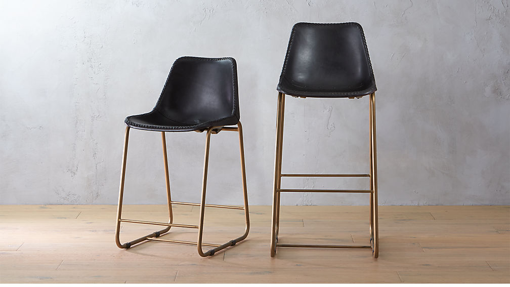 Roadhouse Black Leather Bar Stools Cb2