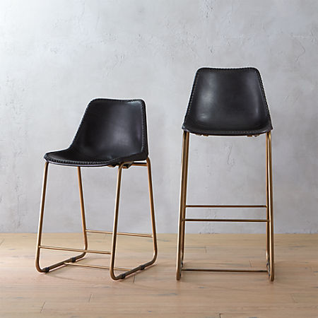 timeless design f0037 87ecb Roadhouse Black Leather Bar Stools