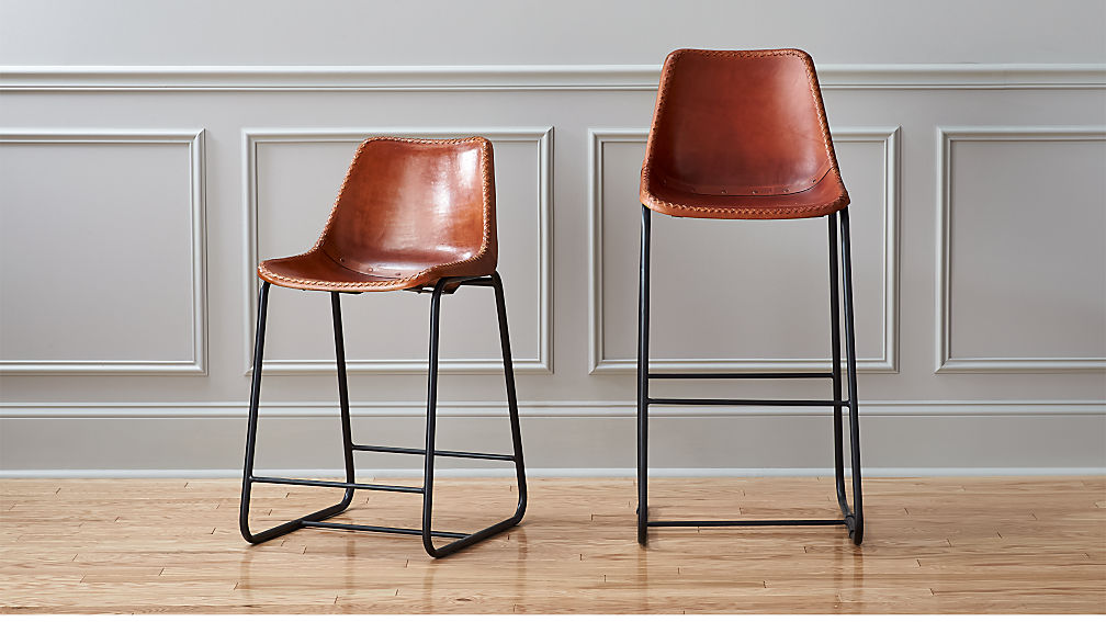brown leather bar stools roadhouse leather bar stools | CB2 brown leather bar stools