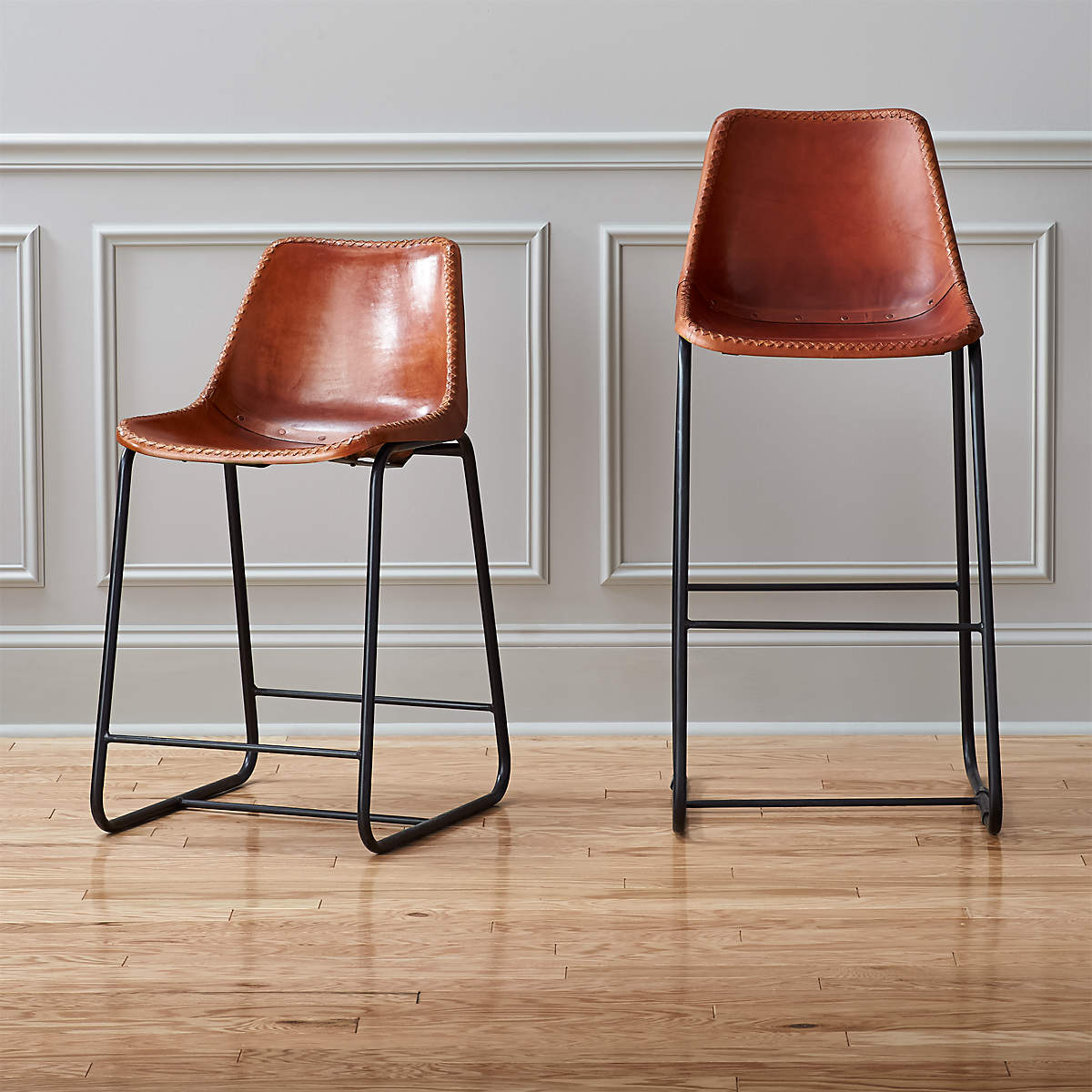 Roadhouse Saddle Leather Bar Stools- image 1 of 2 (Open Larger View)